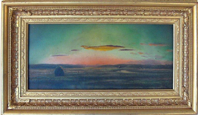 14: 19th century luminist marsh scene, 8 by 16.25 inche