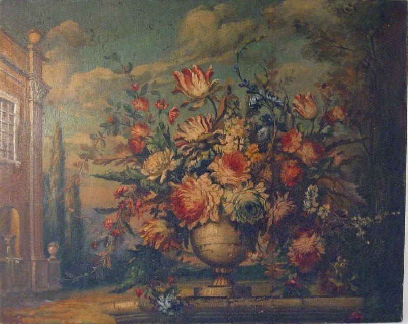 17: American school oil on canvas floral still life, 26
