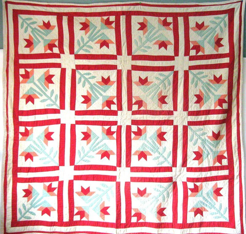 20: Antique geometric patchwork quilt, 6 feet 2 inches