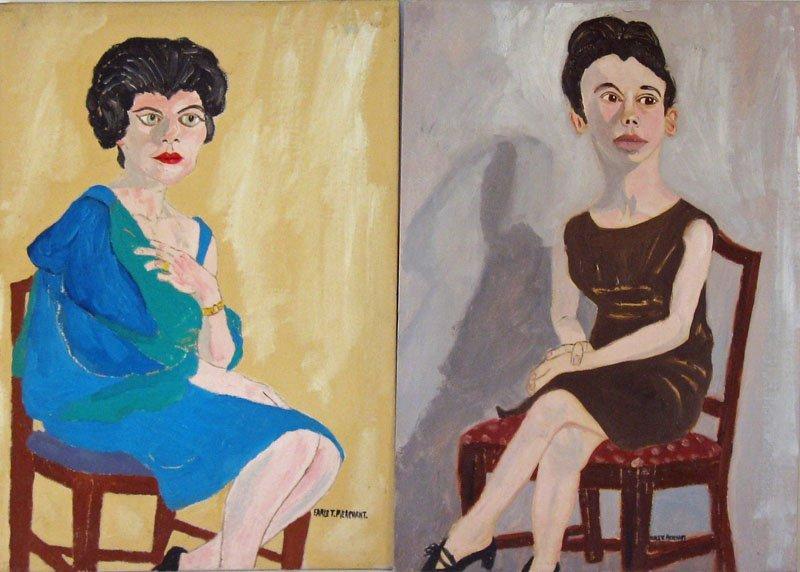21: Lot of 2 Earl T. Merchant oils on board portraits,