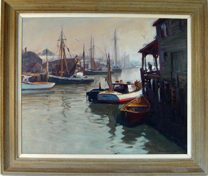 "48A: *Emile A. Gruppe oil on canvas, ""Morning Glouceste"