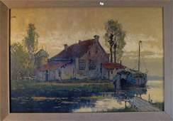 155 William V Norton oil on canvas Dutch canal scene