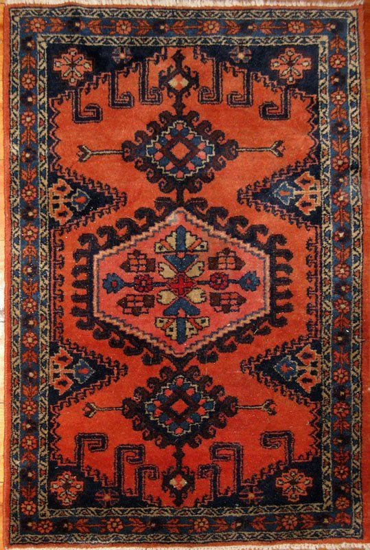 235: Persian Oriental scatter rug, 60 by 43 inches.