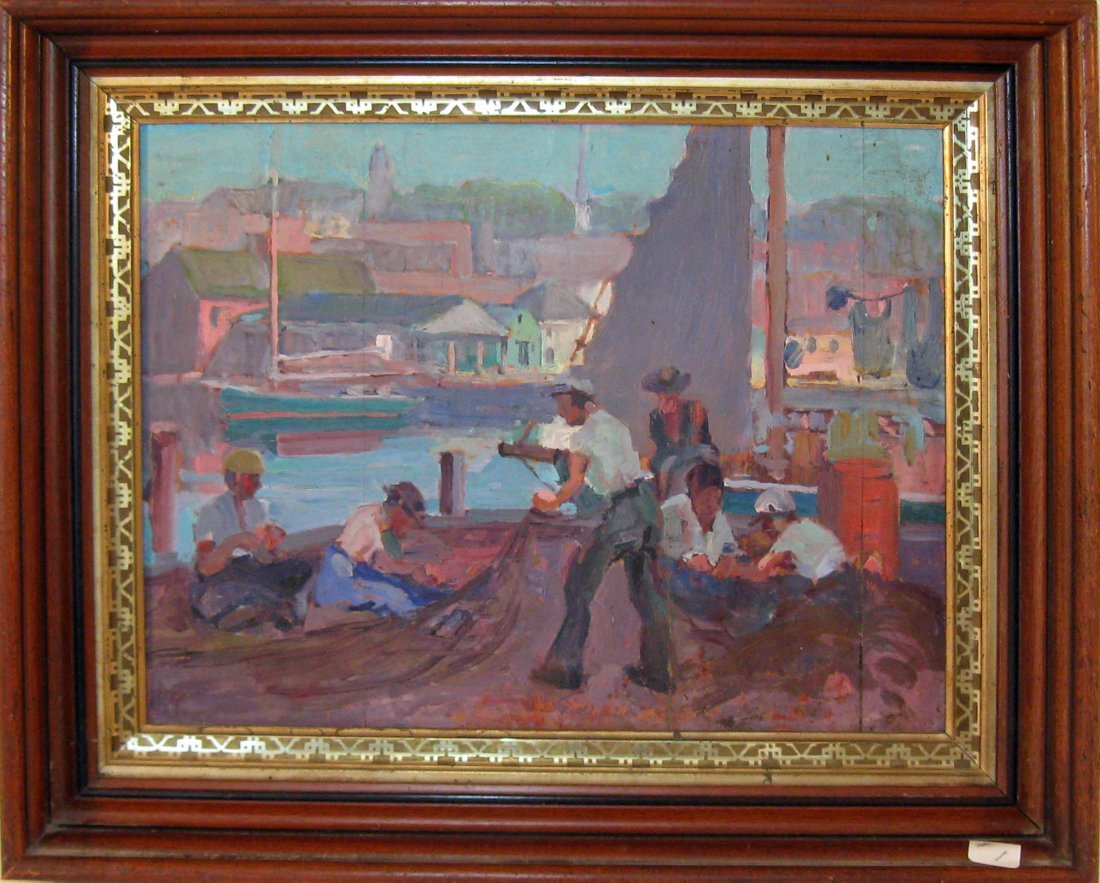 Attributed to Carl Nordstrom oil on board Gloucester do