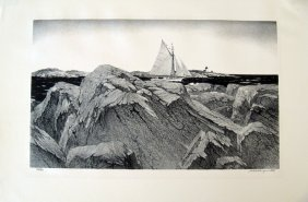 "Stow Wengenroth lithograph, ""Friendship Sloop,"" edition"