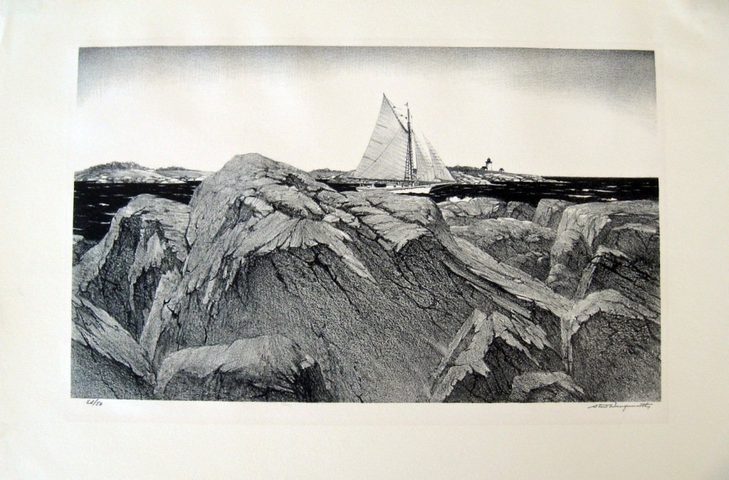 """Stow Wengenroth lithograph, """"Friendship Sloop,"""" edition"""