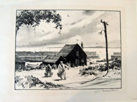 "Gordon Grant lithograph, ""Little Harbor,"" 12 by 15.5 in"