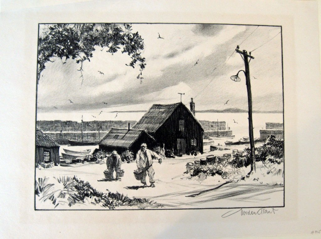 """Gordon Grant lithograph, """"Little Harbor,"""" 12 by 15.5 in"""