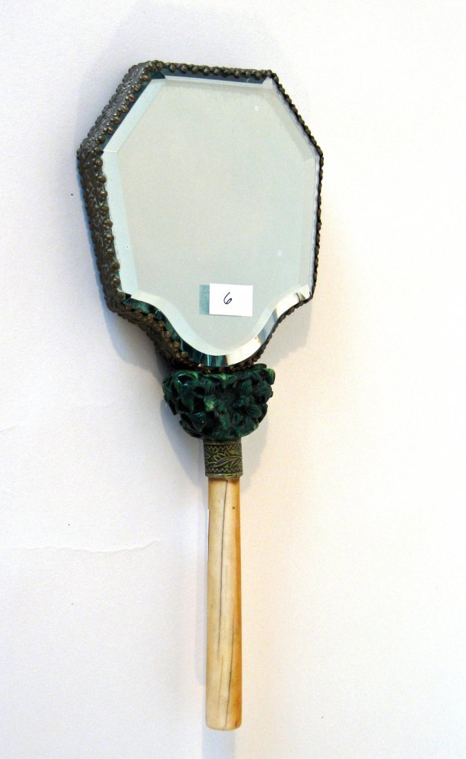 Antique Chinese hand mirror with ivory handle and jade,