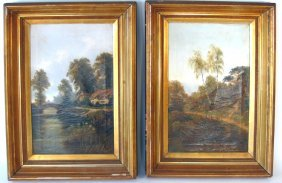 "Pair of indistinctly signed, ""A. Roland Kinglet,"" ??Oil"