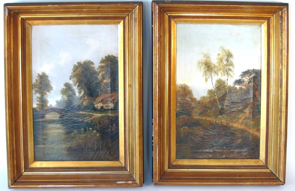 """Pair of indistinctly signed, """"A. Roland Kinglet,"""" ??Oil"""