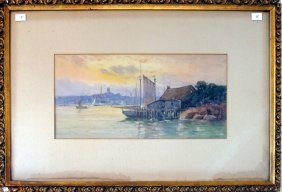 John A. Cook watercolor harbor scene, 6.75 by 13 inches
