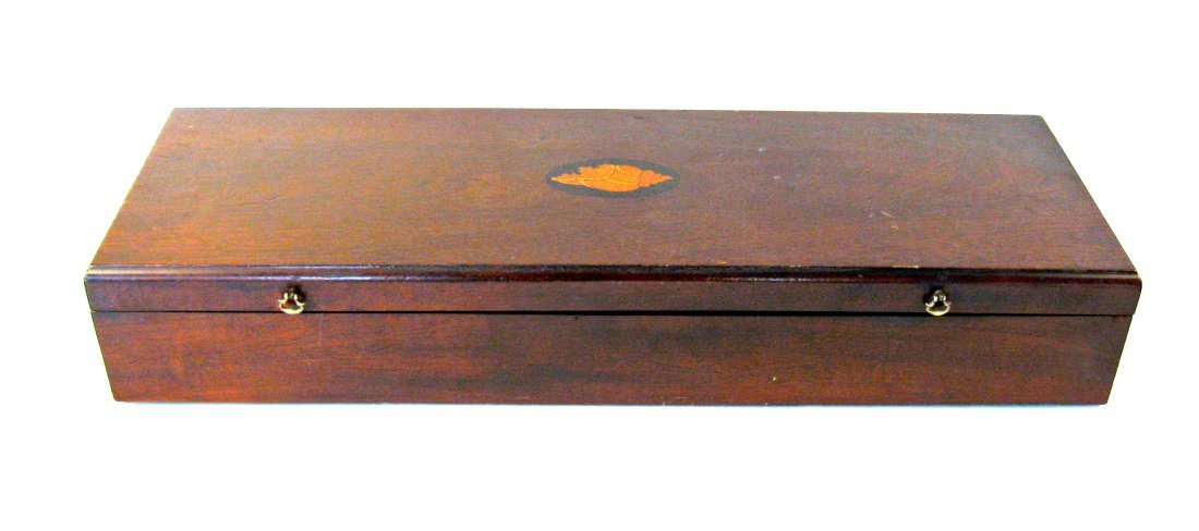 Inlaid mahogany chart case,  30 by 10 by 5 inches. Cond