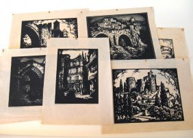 Lot of 8 Donald F. Witherstone block prints of French s