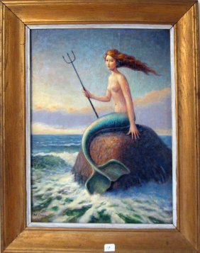 Alan F. Crane acrylic on board mermaid portrait, 16 by