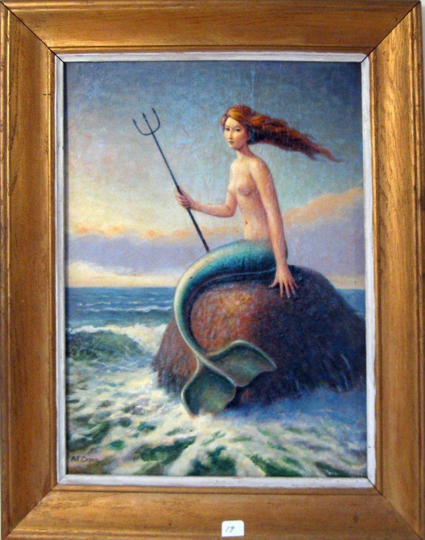 Alan F. Crane acrylic on board mermaid portrait, 16 by