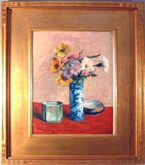 Harry Brick oil on board floral still life, 17 by 13 in