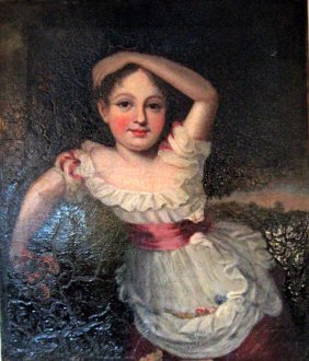 19th century oil on canvas portrait of a young girl wit