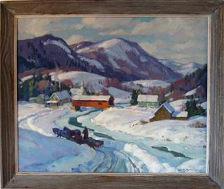 Leo B. Blake oil on board winter landscape with covered