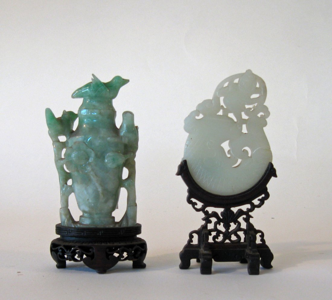 Lot: antique Chinese jade fingering piece and antique j