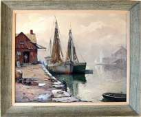 Otis Cook oil on canvas harbor scene 25 by 30 inches