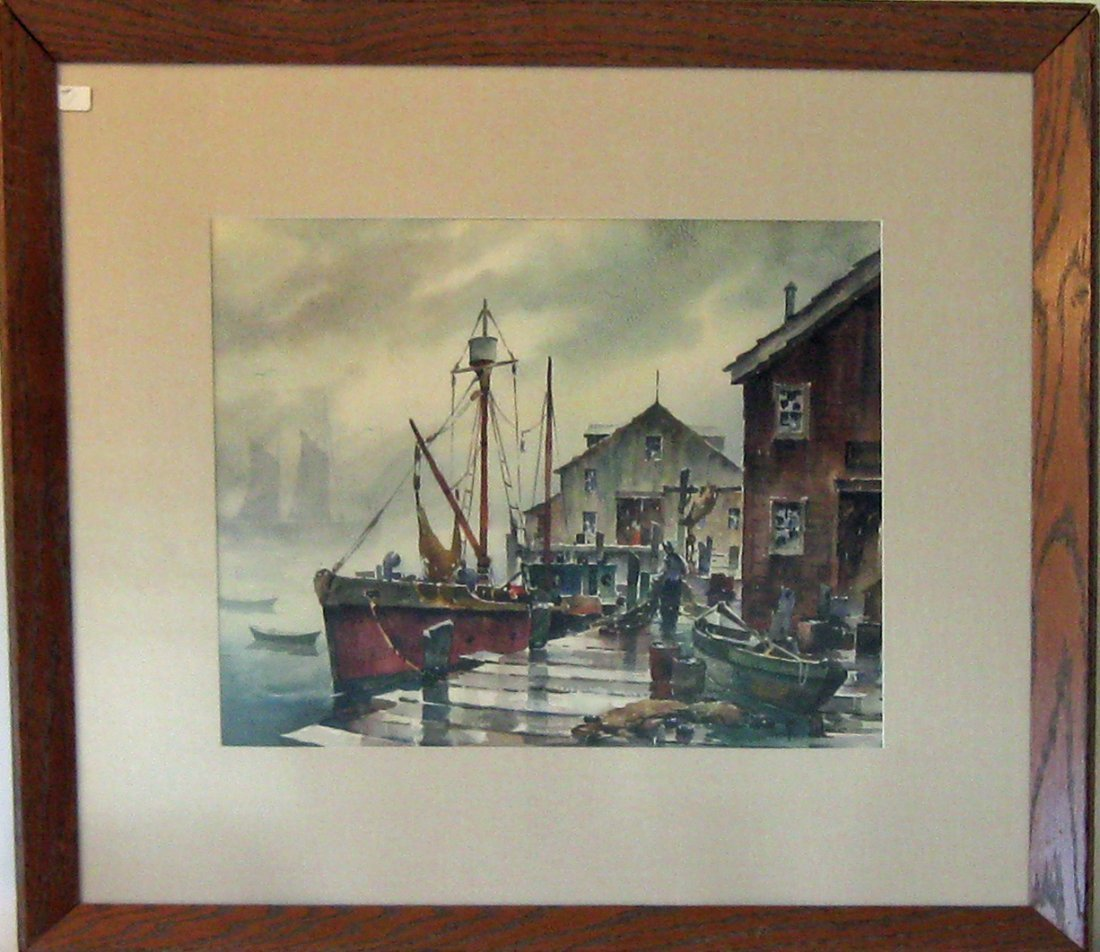 John Hare watercolor dock scene, 13 by 16 inches, signe