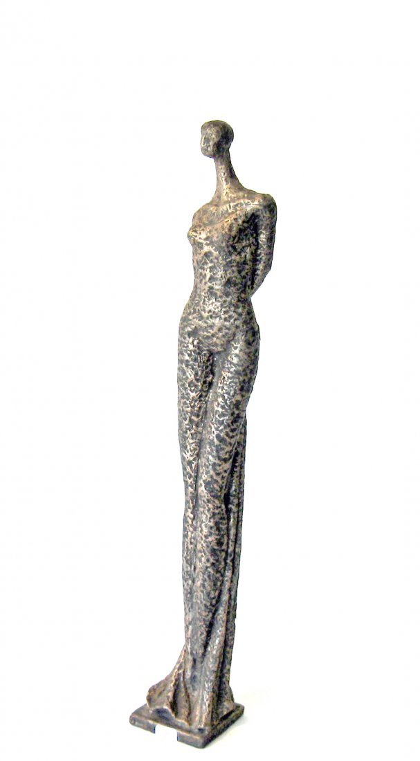 Modernist iron figural sculpture, 19.5 inches tall.