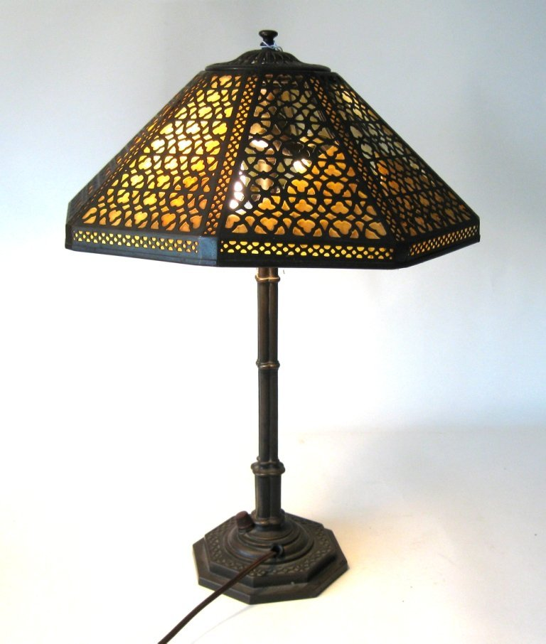 Tiffany Studios New York bronze and stained glass table