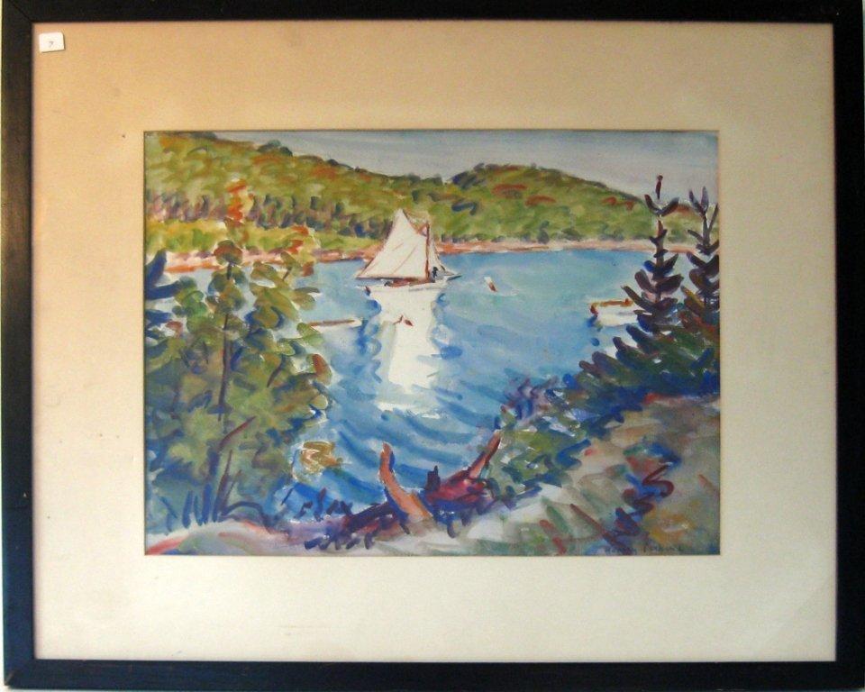 Harley Manlius Perkins watercolor shore scene, 15 by 19
