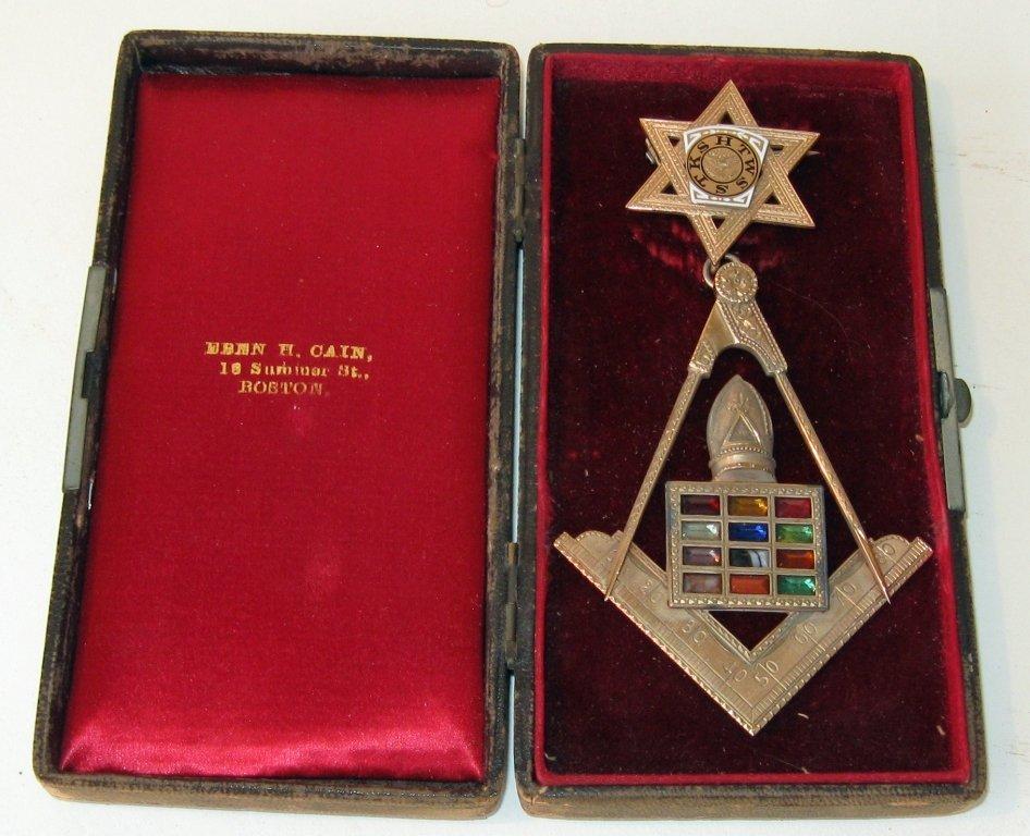 "14 K gold Masonic metal presented to ""Frank G. Shute 18"