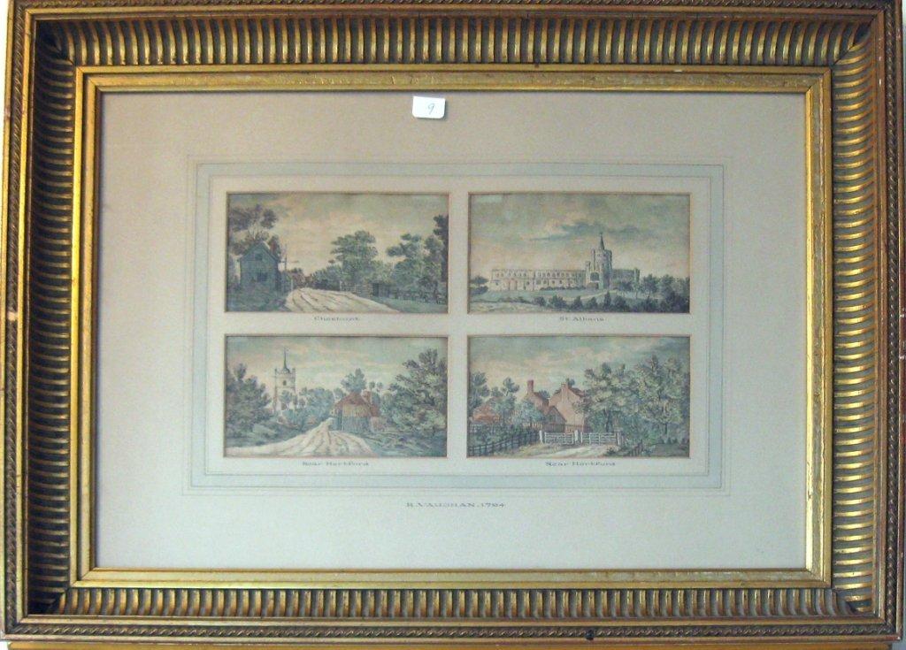 "Set of 4 Robert Vaughan English watercolors, ""Chestnut,"
