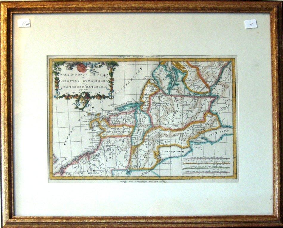 "Early hand-colored map of Eastern US, ""Noordlyk Geneelt"