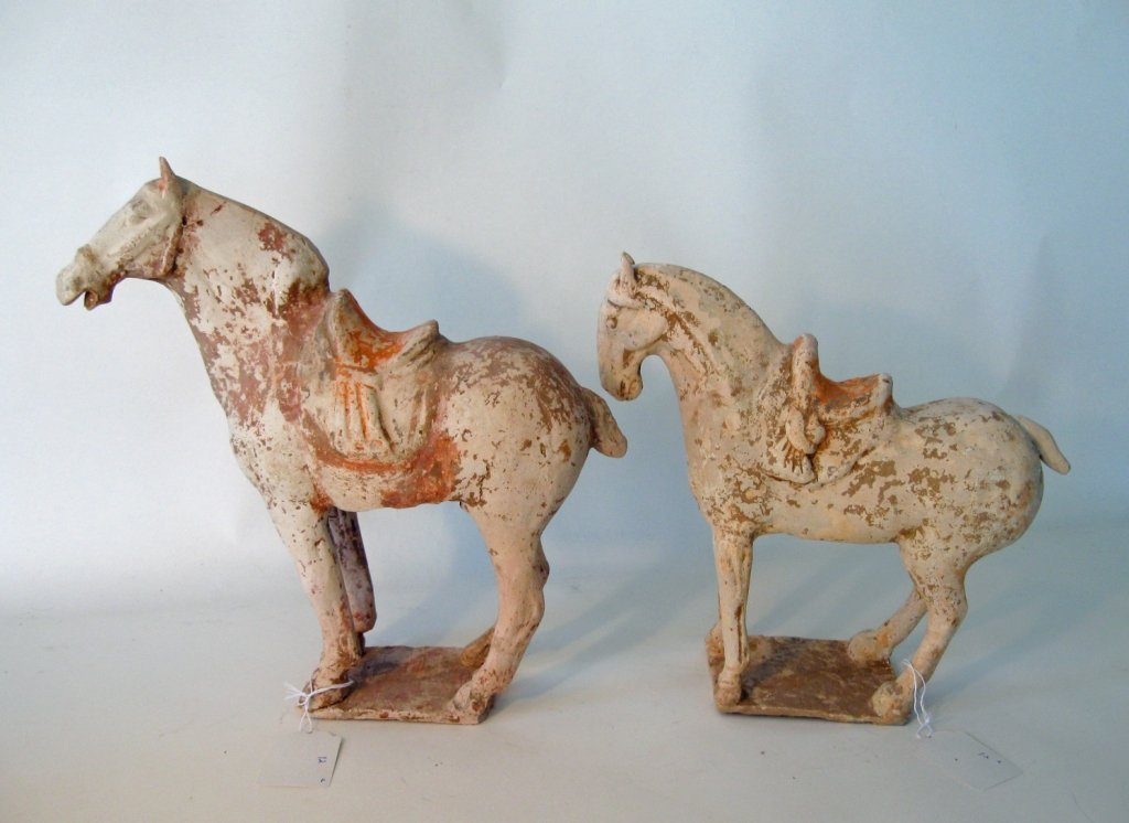 2 Similar Chinese archaic form Tang earthenware horses,