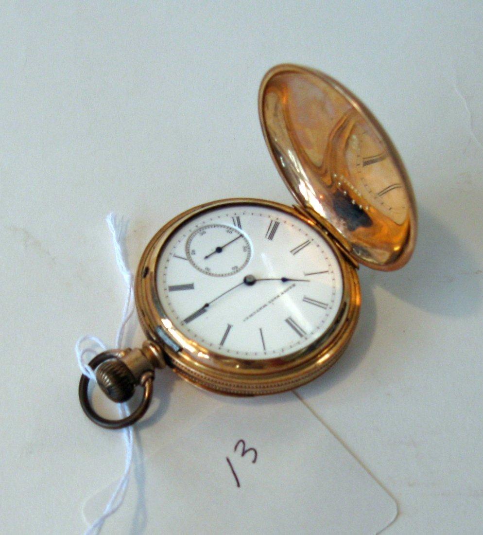Antique Elgin pocket watch in unmarked 14K gold case. C