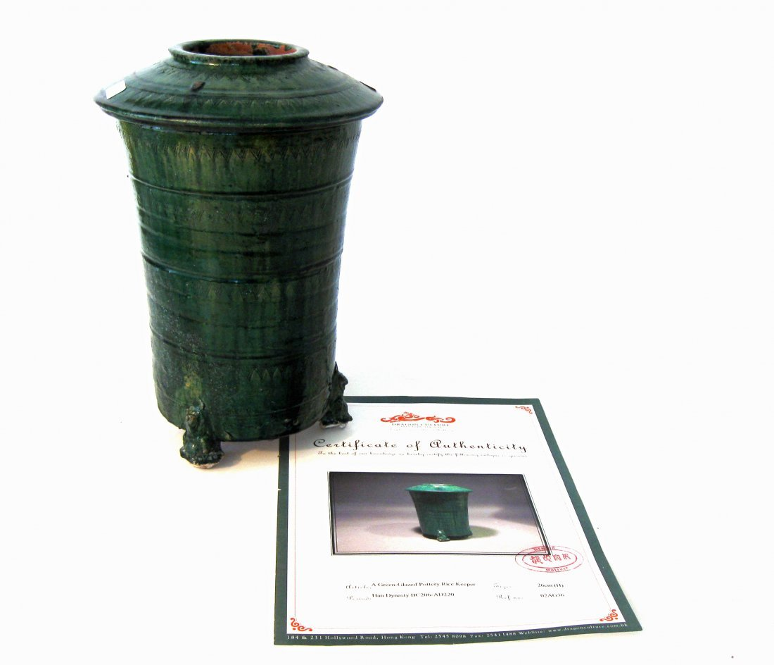 Han Dynasty green glazed ceramic rice keeper, 10.75 inc
