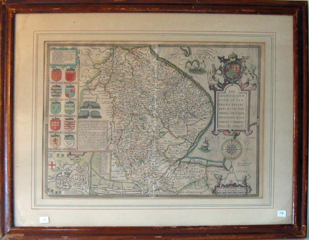 """Fodocus Hondius early hand-colored map, """"The Germane,"""""""