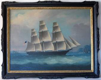 19th century China Trade oil on canvas of an American s