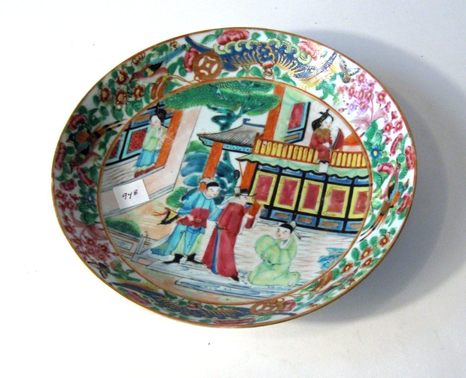19th century Famille Rose shallow bowl, 8.25 inch diame