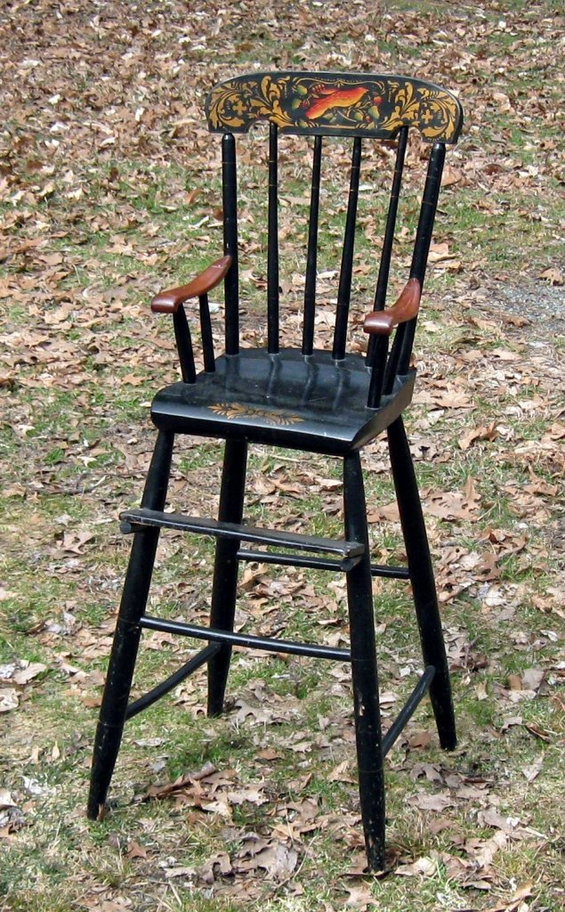 19th century Hitchcock style high chair with stencil de