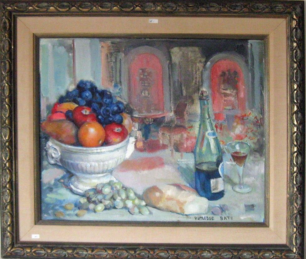 Rutledge Bate oil on canvas still life with fruit, 20