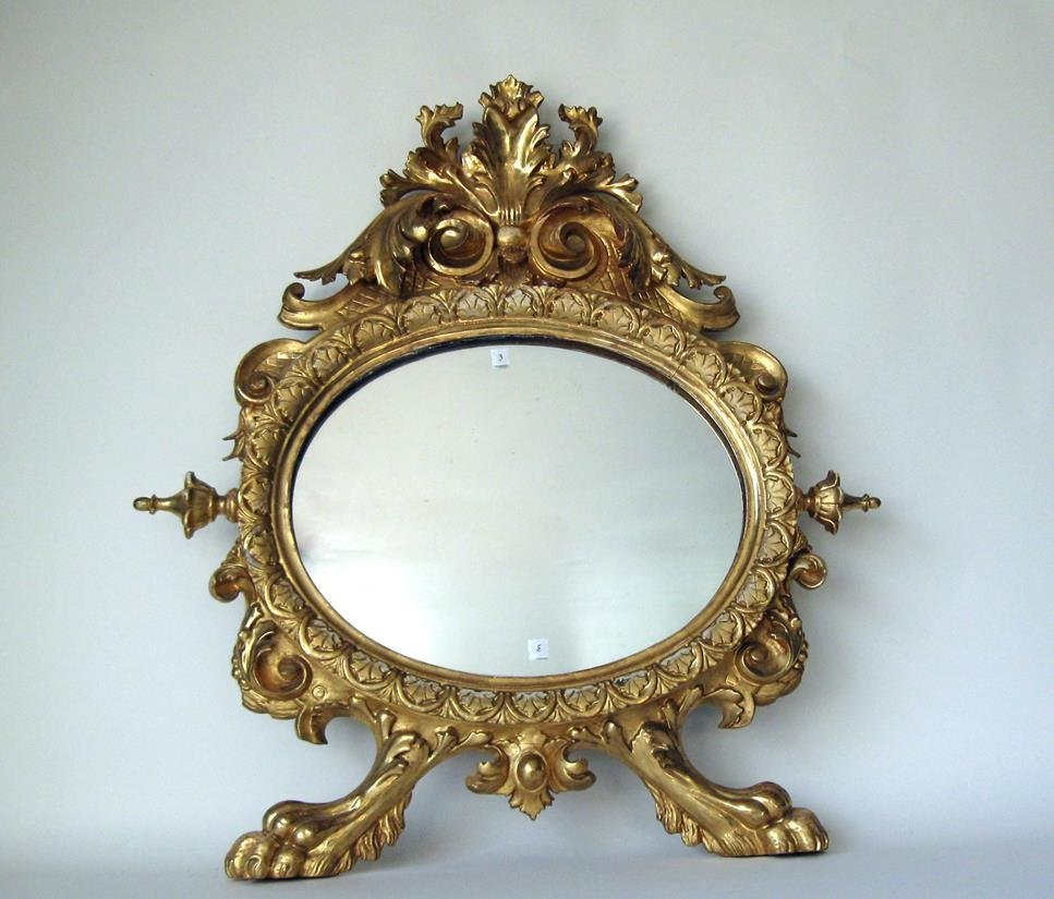 Antique Continental gilt wood classical wall mirror, 29