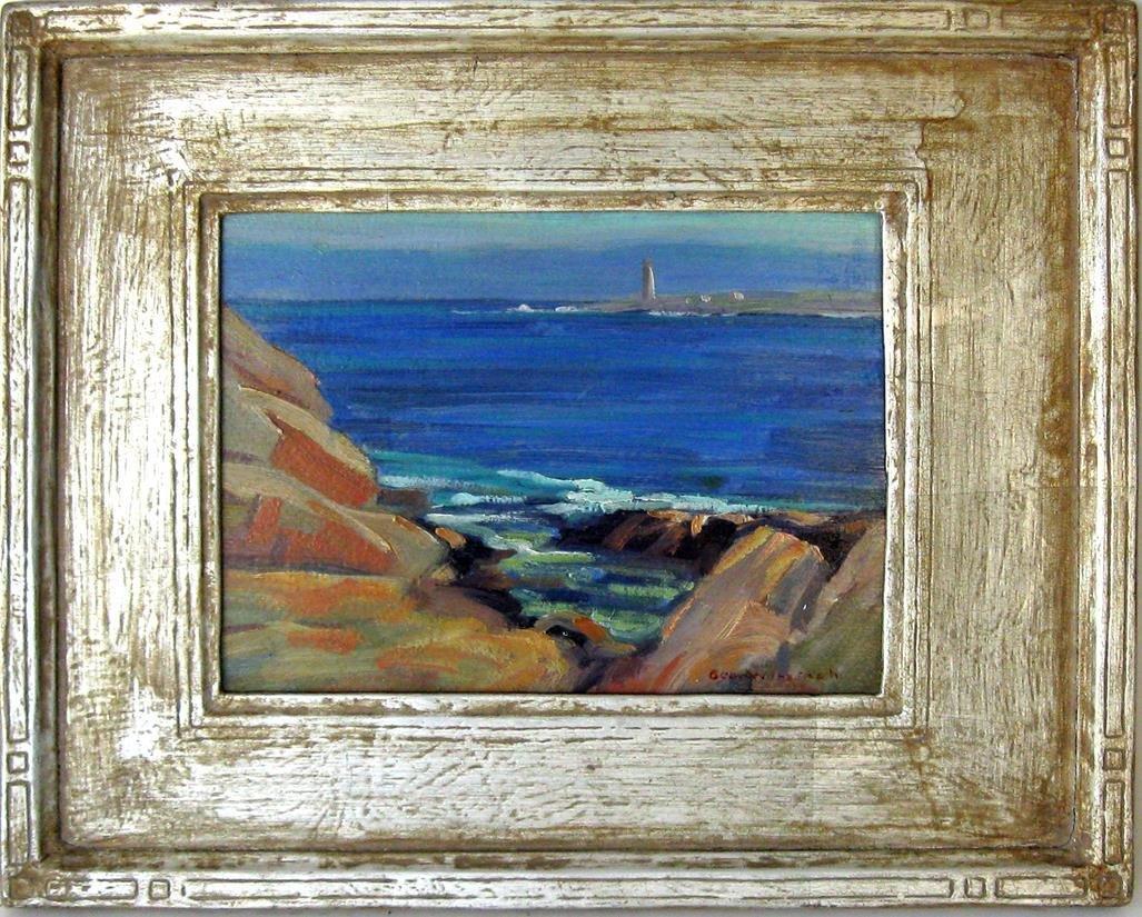George Winetach oil on board coastal scene with