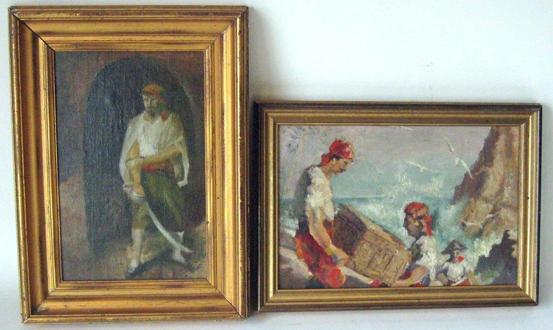 Lot of 2 oil on board pirate scenes, largest 9 by 13.5