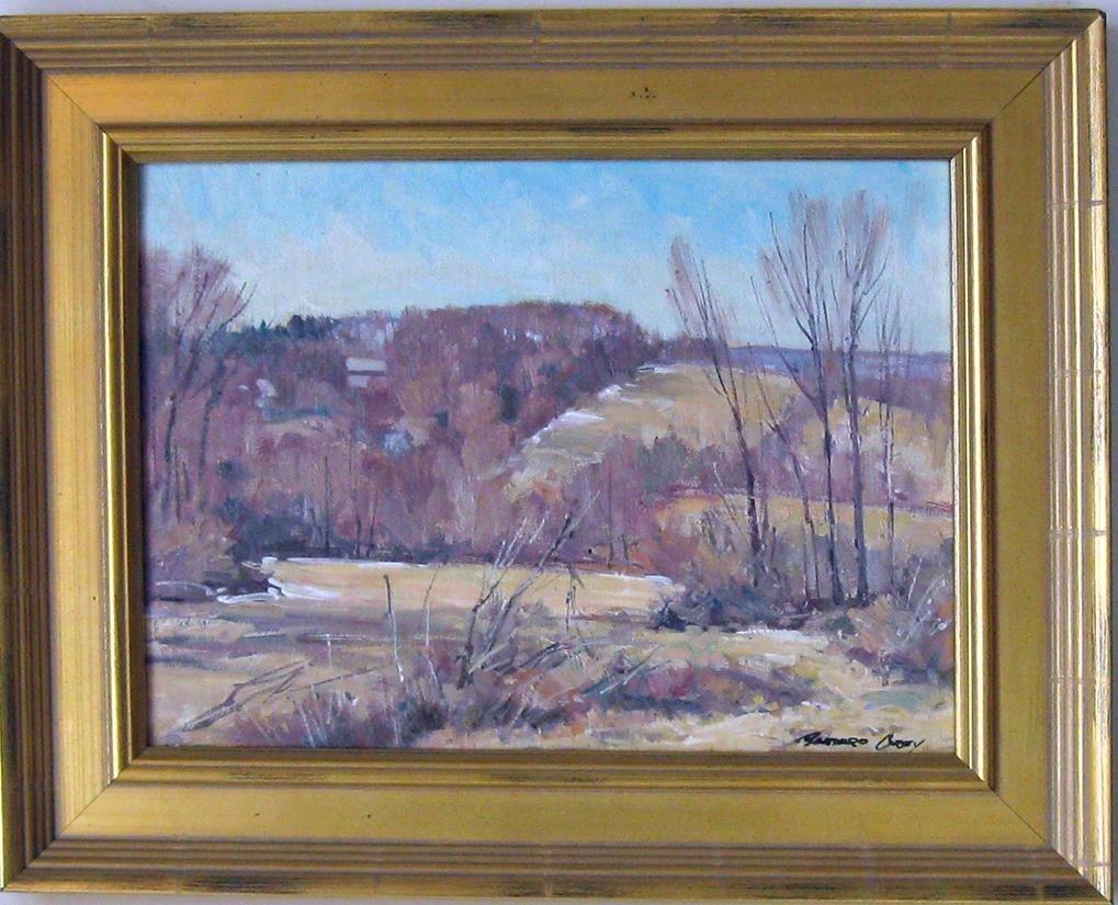 Bernard Corey oil on board winter landscape, 9 by 12
