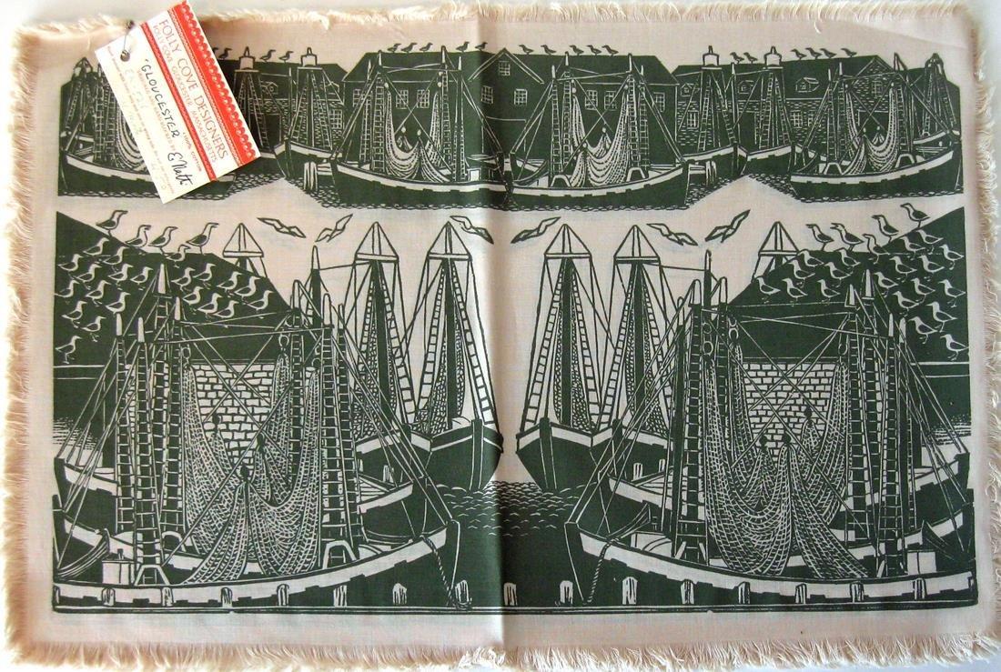 Set of 4 E. Natti Folly Cove designers block prints,