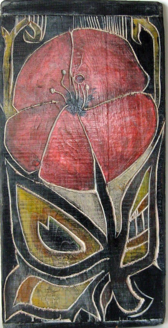 Al Czerepak carved and painted wooden panel with floral