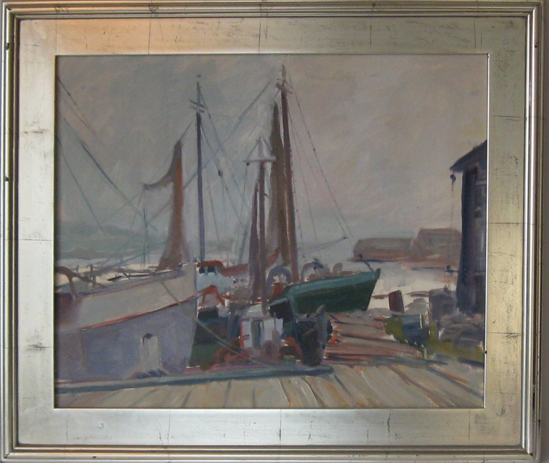 Unsigned Dorothy Primm oil on board harbor scene, 20 by