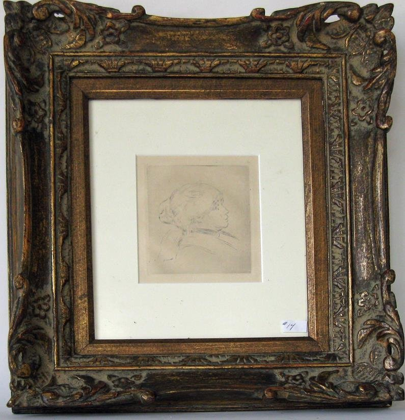 Renoir etching, portrait of a lady, 5 by 4.5 inches,
