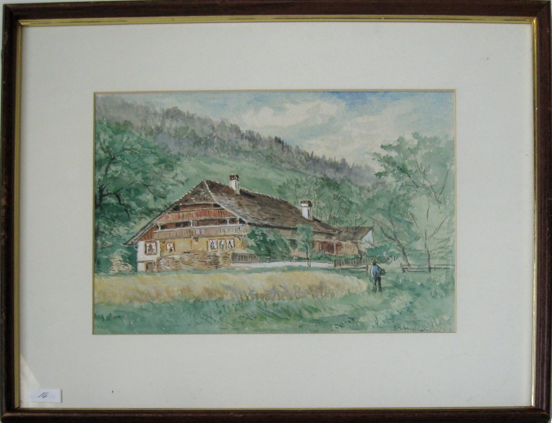 """Frank Henry Shapleigh watercolor, �Mountain House,"""""""
