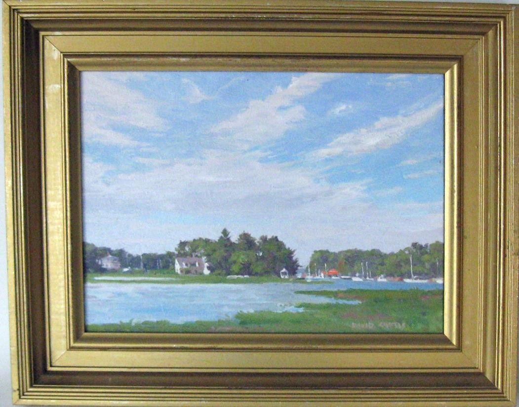 David Curtis oil on canvas of Manchester Harbor,